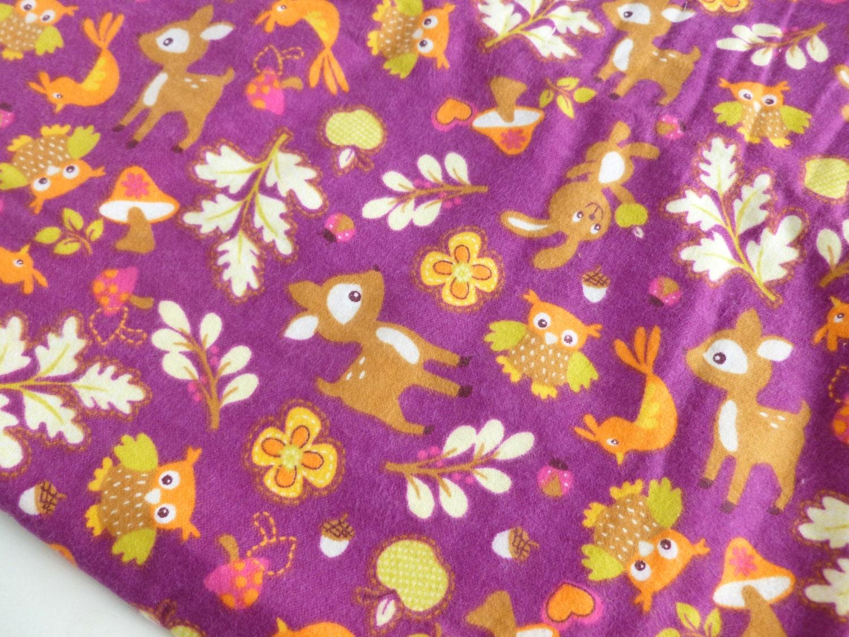Woodland Animals Flannel Fabric Juvenile Print Destash Two