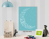 Read Me A Story Tuck Me in Tight Say a Sweet Prayer and Kiss Me Goodnight Hand Lettered Typography Word Art sign Print on Wood