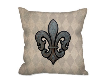 French decor, Fleur de Lis pillow, throw pillow cover, rustic decor, vintage style, fleur de lis decor, tan pillow, French country decor