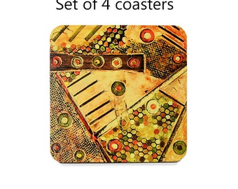Abstract coaster set, drink coasters, set of 4, orange coasters, brown, wine accessories, housewarming gift, cork back coasters