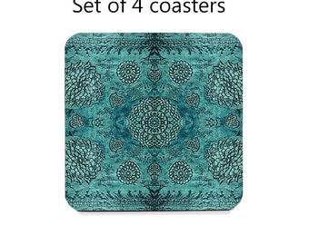 Boho drink coasters, bohemian coaster set, set of 4, teal coasters, wine accessories, housewarming gift, cork back coasters