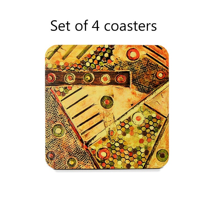 Abstract Coaster Set Drink Coasters Set Of 4 Orange