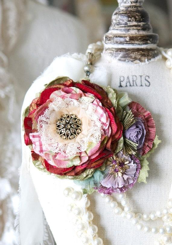Fabric Flower Brooch Gift for Women Wedding Dress Brooch