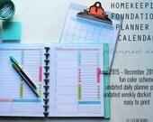 2016 CALENDAR - Clean Mama's HOMEKEEPING FOUNDATIONS Planner + Calendar - 19 standard-sized documents - Instant Download