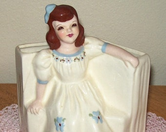 ON SALE Vintage 1940 Planter with a little girl dressed in white with blue butterflys, comes with history L@@K!!