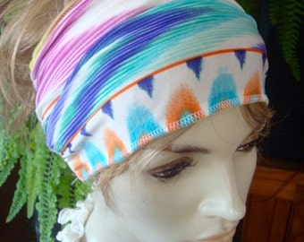 womens headband  swim headband wide black lycra headband turband