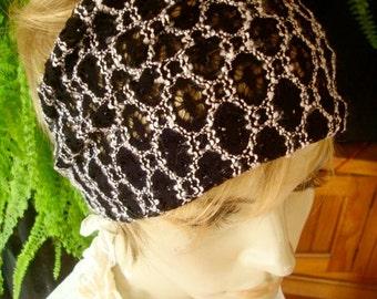 womens Headband extra Wide Headband  black and white  Comfortable Yoga turband Alopecia lycra