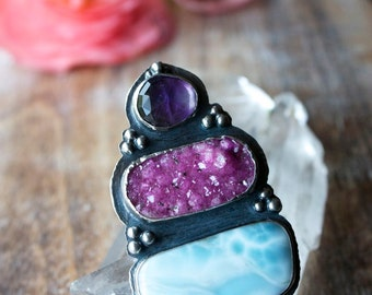 Larimar Ring, Cobalto Calcite Drusy, Sterling Silver Amethyst Cocktail Ring... Size 7.5, Size 7.75... I Dream In Color...