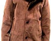 Vintage 1970's Corduroy Fur Lined Towncraft Car Coat Jacket