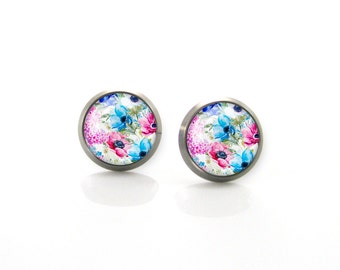 Summer tropic flowers pink blue Titanium Post Earrings | Hypoallergenic Earring Stud | Titanium Earring Stud | Sensitive jewelry post studs