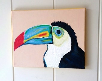 Toucan Painting -  Tropical Bird # 3 - OOAK - Original Acrylic Painting - Wildlife Painting - Tropical Art