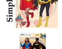 Simplicity 1036, Ladies Super Girl Costume Pattern, Ladies Bat Girl Costume, Sewing Pattern, Super Hero Pattern, DIY Halloween Costume