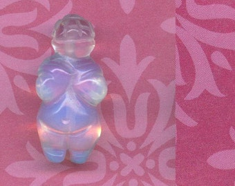 Opalite pocket size Venus of Willendorf GODDESS BEAD Moonstone like Villendorf female fertility ancient mother goddess  stone like carving