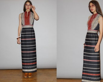 1960s Vintage Boho Ethnic Hippie Long Festival Maxi Dress  - Vintage 60s Maxi Dress   - WD0829
