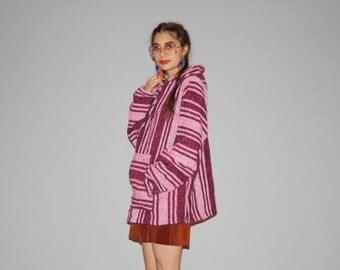 Vintage Fuchsia  Baja Drug Rug  - Vintage 90s Drugrugs - 1990s Pink Stripe Hoodie - WO0702