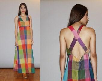 1960s Backless Halter Patchwork Hippie Rainbow Vintage Maxi Dress  - Vintage 60s Maxi Dress   - WD0922