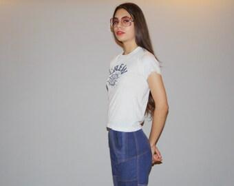 Vintage 1970s Paper Thin White Crew Nautical Sailor T Shirt - Screen Stars 70s Tee  - Vintage 50/50 cotton poly T Shirts - Wz0801