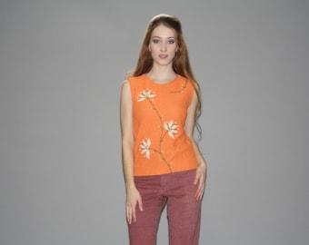 Vintage 1960s Orange Floral Embroidered Wool Knit Tank Top  -  Vintage Orange Top  -  Vintage Knit Tops  - WT0407