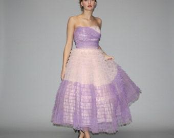 1950s Two Tone Lavender and Blush Strapless Dream Cupcake Wedding Dress  - Vintage Wedding Dress - 50s Wedding Dress  - Prom Dress  - WD0663