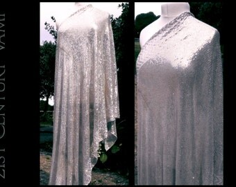 Assuit Piano Shawl. Art Deco. Glamorous Heavy Silver Design. Egyptomania. Tribal Fusion. Bellydance. Tulle Bi Telli. 1910s. 1920s.