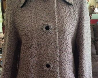 Vintage 1950s Coat Dusty Pink Boucle' Iridescent Grey Pink Lining With A POODLE Design Black Velvet Collar & Sleeve Cuffs