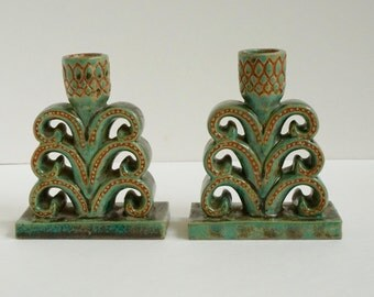 Vintage Arts And Crafts Style Pottery Candle Holders Great Color Thistle Flower Hand Made Signed Pieces