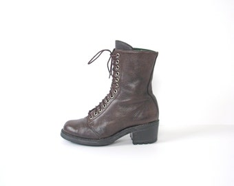 Vintage 90's dark brown boots, 13 eyelet, hiking boots, women's size 7