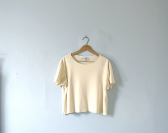 Vintage 80's pale yellow crop top / cropped top shirt, size xl large