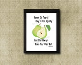 Never Eat Pears, whovian art, twelfth doctor, i don't like pears, doctor who, bbc, geek nerd art, fan gifts, peter capaldi, clara oswald