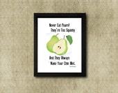 Never Eat Pears, whovian art, twelfth doctor, i don't like pears, doctor who, bbc, geek nerd art, fan gifts, peter capaldi, clara oswald
