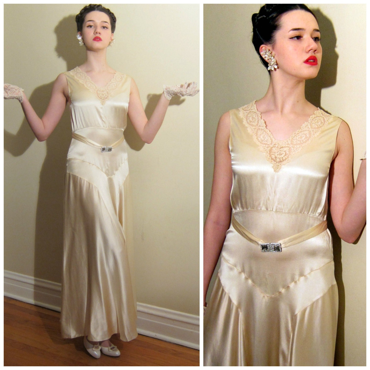 Vintage 1930s Wedding Dress Ivory Silk And Lace / 30s
