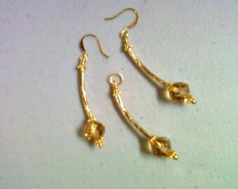 Golden Topaz Glass Pendant and Earrings (0167)
