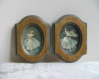 Vintage Ballet Dancers Ballerina Wall Art Prints Pair by Carina Set of 2, Blue Green Gold Faux Wood Frames, En Pointe and Pas de Deux