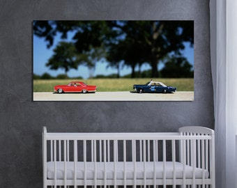 nursery kids decor toy police car colorful vintage classic modern red blue green landscape grey - High Speed Chase - Fine Art Photography