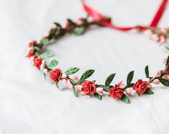 red rose, leaf & berry flower crown // bridal wedding flower crown headband rustic forest garden spring woodland headpiece