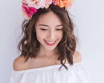 flower crown // summer vibrant colourful spring racing sunset pink orange statement floral headpiece headband, wedding bridal festival