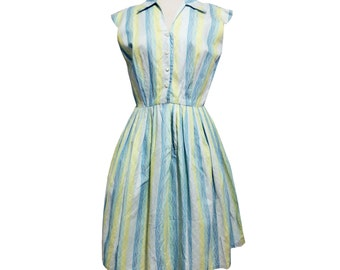 1950's Green and Blue Woven Cotton Day Dress Size Small/Medium