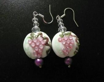 white, green and light purple/pink grape lampwork bead pierced earrings