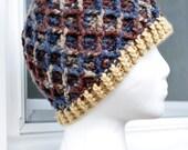 Crochet Lattice Hat - Blue and Brown