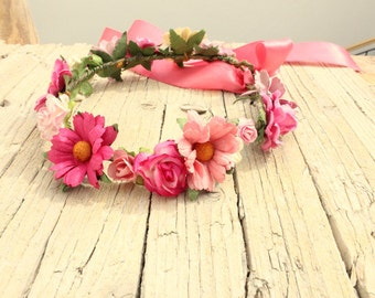 PETUNIA Flower Crown - Floral fascinator Flower Headband  Birthday Hair halo Hairpiece, crown, pink tiara Birthday flower girl daisies crown