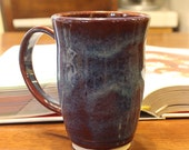 Coffee or Tea Cup or Mug Handmade in Ice Blue and Deep Red for Coffee Lovers or Tea Lovers
