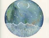 Original Painting, Aurora and the Ivory Moons