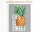 Vintage Pineapple Pull Down Chart - Life is Sweet Canvas Hanging Print - Wall Hanging Vintage Botanical  Inspirational - TD106CV