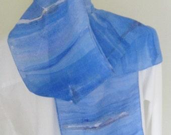 Hand painted silk scarf rowing design blue aqua Henley Regatta design