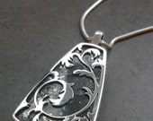 Secret Side Pendant - Green and Gold Nipomo Marcasite and Silver - Art Nouveau Inspired - Vine and Leaf