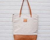 SALE20%-Totes bag ,cotton linen canvas -Totes bag ,leather strap, zip  totes  -Ready to ship