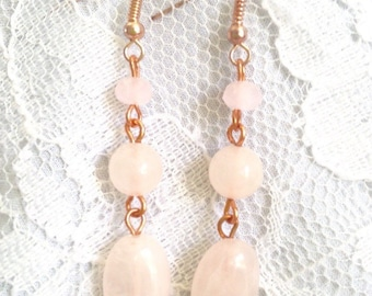 Rose Quartz and Rose Gold - 3 Bead Drop Bead Dangle Earrings - Mid Century Modern - Vintage Inspired