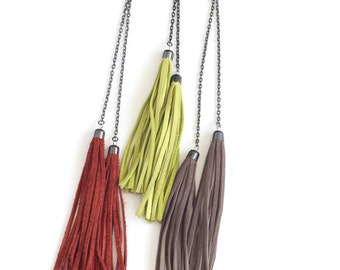 Tassel leather necklace in tomato red, lemon yellow or latte brown.