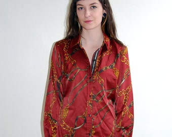 SALE vintage burgundy blouse with chain pattern