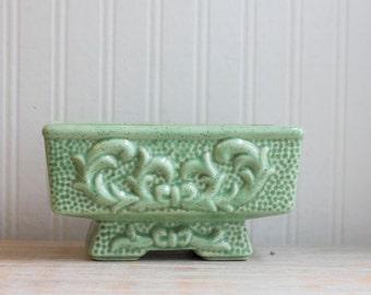Vintage Planter, Art Nouveau Home, Mint or Seafoam Green, Rectangle Pedestal Planter w Relief Pattern, Ornate Decorative Indoor Flower Box